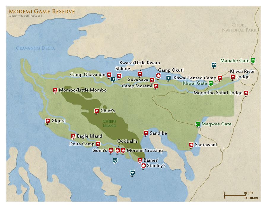 moremi safari map